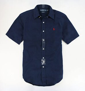 美國百分百【全新真品】Ralph Lauren RL polo 男 經典款 短袖 襯衫 深藍色 素面 上衣 S M XL