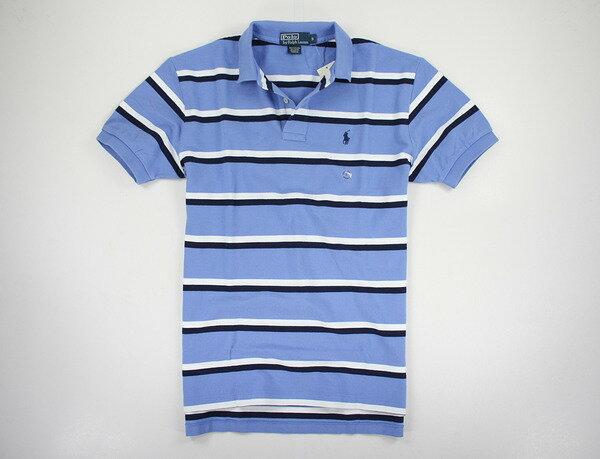 美國百分百【全新真品】Ralph Lauren RL 男 休閒 工作 雙條紋 藍 短袖 polo衫 純棉 上衣 S M 超取