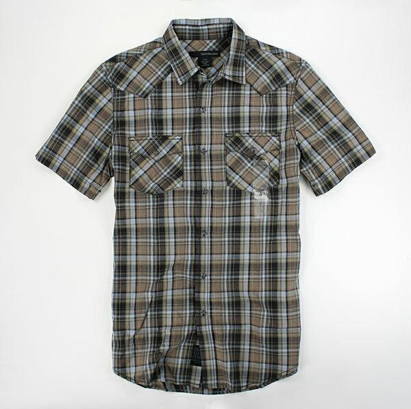 美國百分百【全新真品】Calvin Klein CK 咖啡系 男生 短袖 襯衫 格紋 上衣 S號 超取