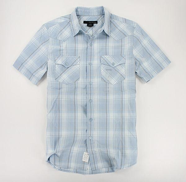 美國百分百【全新真品】Calvin Klein Jeans CK 淡藍 格紋 男生 短袖 襯衫 上衣 S號 板橋門市