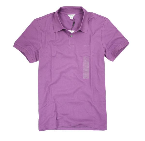 美國百分百【全新真品】Calvin Klein CK 美國 純棉 素面 網眼 短袖 POLO衫 男衣 L號 深紫