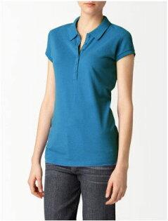 美國百分百【全新真品】Calvin Klein CK 女生 休閒 polo衫 短袖 上衣 網眼 棉質 S號 藍綠 粉紅