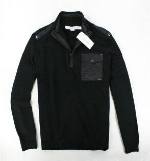 美國百分百【全新真品】Calvin Klein CK 立領 男 半拉 外套 夾克 造型 針織 口袋 黑 免運 S M號