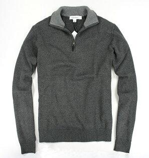 美國百分百【全新真品】Calvin Klein CK 格紋 翻領 開襟 半拉 針織 毛線衣 毛衣 男款 M 免運