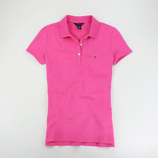 美國百分百【全新真品】女生 Tommy Hilfiger 網眼 短袖 休閒 POLO衫 桃紅色 TH XS S號 現貨
