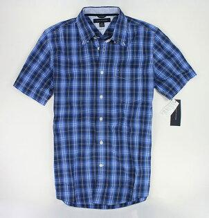 美國百分百【全新真品】Tommy Hilfiger 春夏 寶藍 亮色 格紋 男生 質感 短袖襯衫 上衣 S號 TH