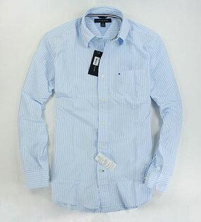 美國百分百【全新真品】Tommy Hilfiger TH 淡藍 條紋 質感 長袖 襯衫 上班 工作 上衣 S號