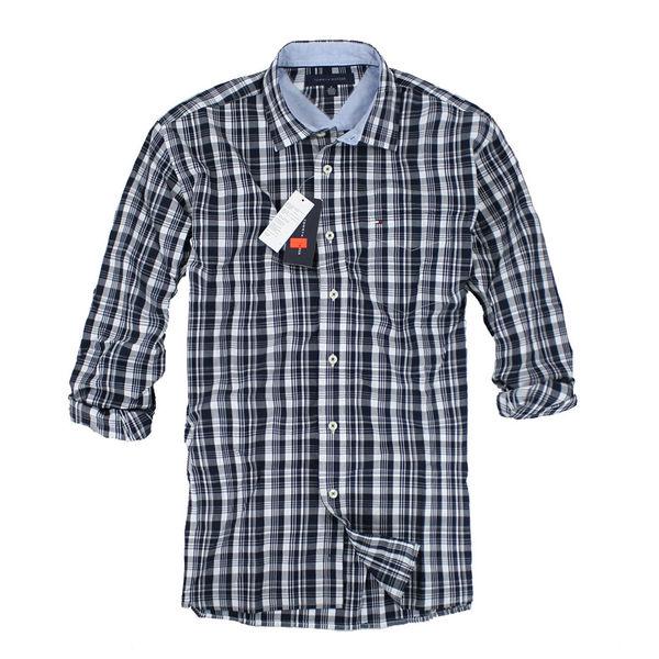 美國百分百【全新真品】Tommy Hilfiger 黑白 格紋 長袖 襯衫 休閒風 潮流 百搭款 男 XS M號 TH