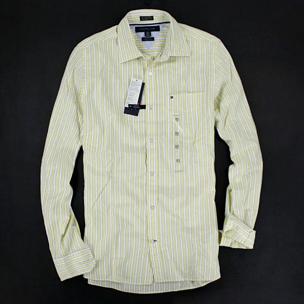 美國百分百【全新真品】Tommy Hilfiger TH 緞面 氣質感 淡黃 條紋 長袖 口袋 襯衫 XS S 合身版