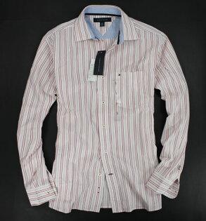 美國百分百【全新真品】Tommy Hilfiger 男生 紅色 細條紋 長袖 襯衫 上班 工作 上衣 S號 TH