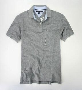 美國百分百【全新真品】Tommy Hilfiger TH 素面 灰色 網眼 男款 上衣 短袖 Polo衫 代購 超取