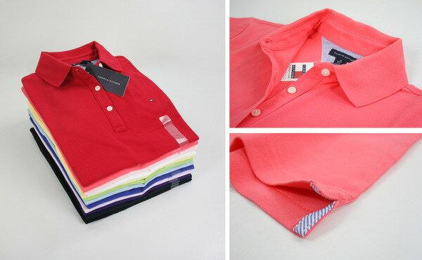 美國百分百【全新真品】Tommy Hilfiger 女款 短袖 POLO衫 棉質 網眼 上衣 代購 紅色 黑色 白色