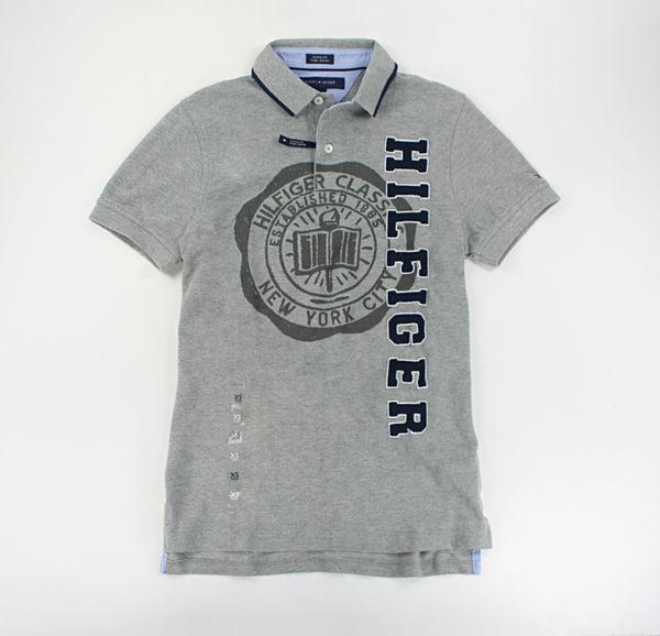 美國百分百【全新真品】Tommy Hilfiger TH 印花 字母貼布 網眼 短袖 polo衫 灰色 XS號 合身版