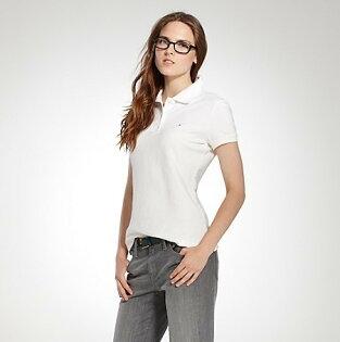 美國百分百【全新真品】女生 Tommy Hilfiger 網眼 短袖 POLO衫 白色 腰身 顯瘦 純棉 代購 TH
