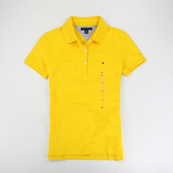 美國百分百【全新真品】Tommy Hilfiger TH 夏季 女生 短袖 polo衫 腰身款 XS號 黃 橘 綠 超取