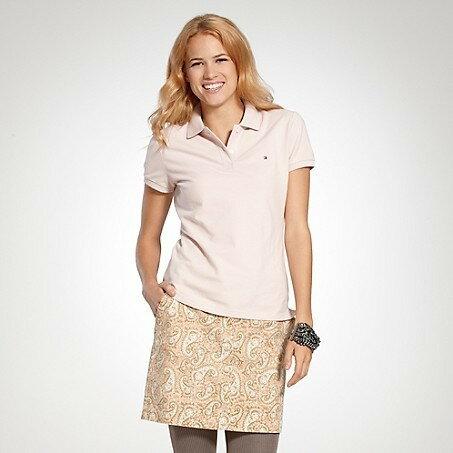 美國百分百【全新真品】Tommy Hilfiger TH 女生 上衣 網眼 短袖 Polo衫 粉紅色 現貨 XS S M號