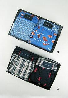 美國百分百【全新真品】Tommy Hilfiger TH 男款 花樣圖案格紋 平口四角褲 內褲 兩件禮盒組 S號