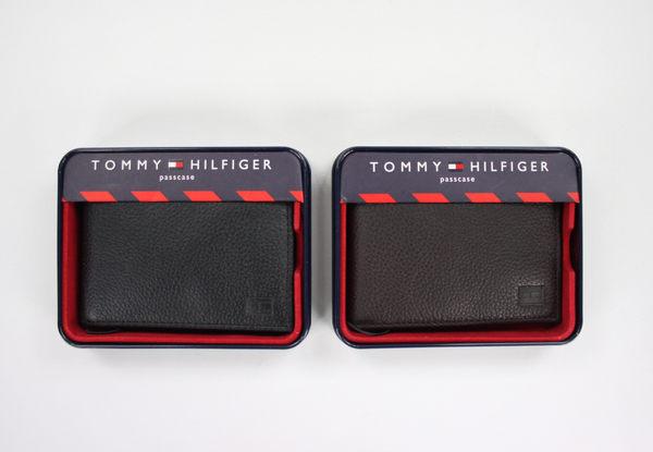 美國百分百【全新真品】Tommy Hilfiger TH 男 牛皮 皮夾 皮包 錢包 短夾 壓紋 黑色 咖啡色