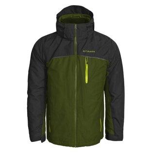 美國百分百【哥倫比亞】Columbia 3-in-1 男 兩件式 防寒外套 防水夾克 大衣 收納帽 深綠 L號