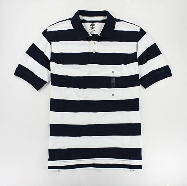 美國百分百【全新真品】Timberland 男生 網眼 條紋 短袖 POLO衫 上衣 休閒風 藍色 S號 C291
