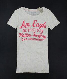 美國百分百【全新真品】American Eagle AE 粉紅 字母T 大U領 女款 T恤 亮色 彩斑點 XS S號
