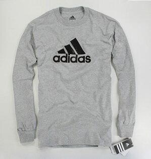 美國百分百【全新真品】Adidas 愛迪達 男 長袖 刷色logo 薄款 T恤 T-shirt 上衣 灰色 S號 可自取