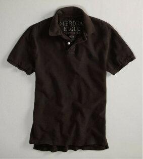 美國百分百【全新真品】American Eagle AE 老鷹牌 男款 深咖啡 網眼 純棉 短袖 Polo衫 M號 e