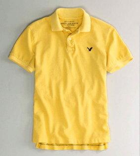 美國百分百【全新真品】American Eagle AE 老鷹 春夏 黃色 短袖 男 Polo衫 熱賣款 代購 大尺碼