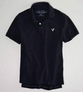 美國百分百【全新真品】American Eagle AE 經典 百搭 短袖 素色 polo衫 超優惠 黑色 現貨 預購