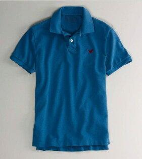 美國百分百【全新真品】American Eagle 老鷹品牌 男款 短袖 Polo衫 上衣 青藍色 AE 面交自取