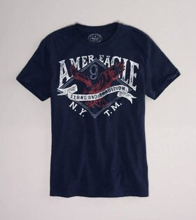 美國百分百【全新真品】American Eagle 刷紋 紅色 老鷹 復古風 圖案 T恤 T-shirt 男款 S號 AE