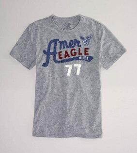 美國百分百【全新真品】American Eagle 貼布款 字母老鷹 設計T 男T 短T T恤 T-shirt 淺灰 XS S