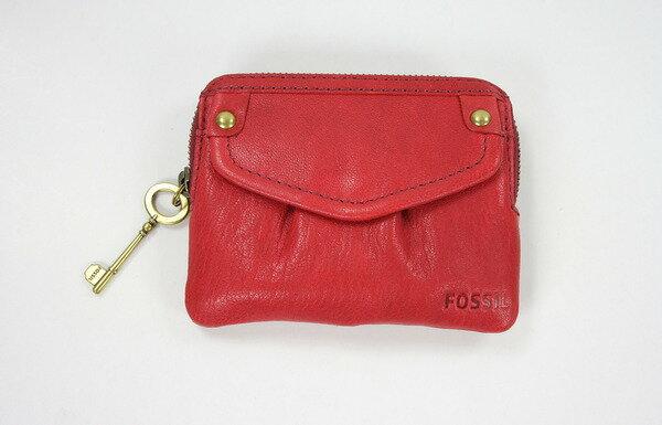 美國百分百【全新真品】fossil 紅色 皮革 零錢包 卡片夾 女生 鑰匙裝飾 拉鍊 皮包 美國寄件