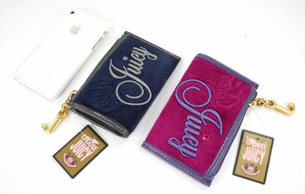 美國百分百【全新真品】Juicy couture 女款 零錢包 鎖匙包 鑰匙包 深藍 桃紅 絨毛款 706