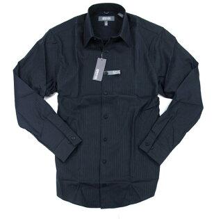 美國百分百【全新真品】Kenneth Cole KC 型男 上班族 條紋 長袖襯衫 slim fit 質感 黑色 上衣