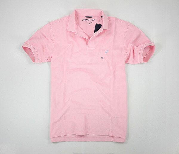 美國百分百【全新真品】Nautica 帆船牌 男生 專櫃款 素色 網眼POLO衫 短袖 上衣 粉紅 面交