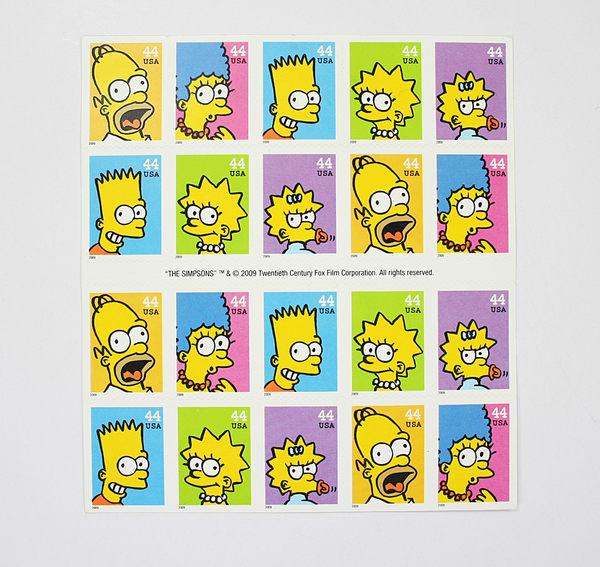 美國百分百【全新真品】USA 辛普森 家族 可愛 郵票 收藏 可用 simpsons 麗莎 霸子 美國卡通