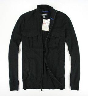 美國百分百【全新真品】Kenneth Cole 外套 KC 男 雙口袋 針織 外衣 立領 夾克 黑色 XL號 B683