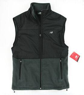 美國百分百【全新真品】New Balance 男 保暖 雙布料 背心 輕巧 拉鍊 外衣 刷毛 黑灰 M號 C089