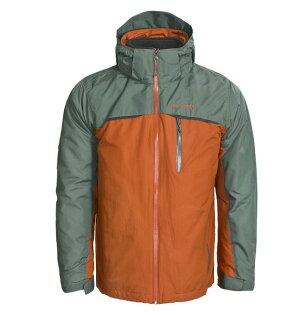 美國百分百【哥倫比亞】Columbia 3-in-1 男 兩件式 防寒外套 防水夾克 大衣 收納帽 橘灰 L號
