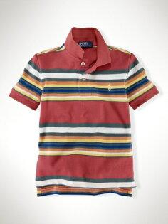 美國百分百【全新真品】Ralph Lauren Polo衫 RL 童衣 男 小馬 條紋 童裝 短袖 上衣 橘紅 5 7歲 C783