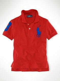 美國百分百【全新真品】Ralph Lauren RL 童裝 小孩 大馬 短Polo衫 紅色 小朋友 休閒 親子裝 3歲