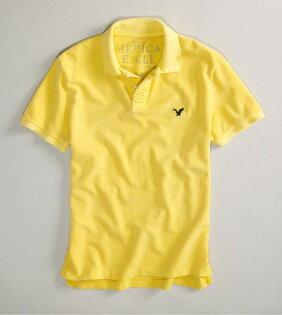 美國百分百【全新真品】American Eagle AE 老鷹 黃色 短袖 男款 網眼 Polo衫 熱賣款 可超取