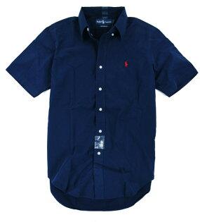 美國百分百【全新真品】Ralph Lauren RL polo 男生 上班 短袖 襯衫 深藍 紅馬 代購 超取 M L