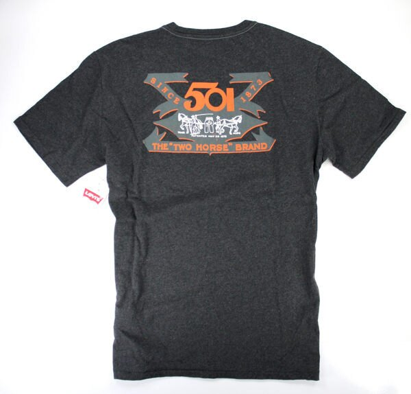 美國百分百【全新真品】LEVIS 男款 T恤 T-shirt 短袖 501 1873復古風 鐵灰 美國寄件
