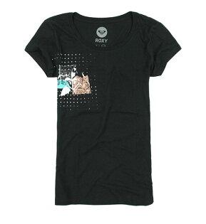 美國百分百【全新真品】ROXY 春夏 衝浪女孩 長版T恤 tshirt 黑 彩色 圖案 英文字母 空運 L號
