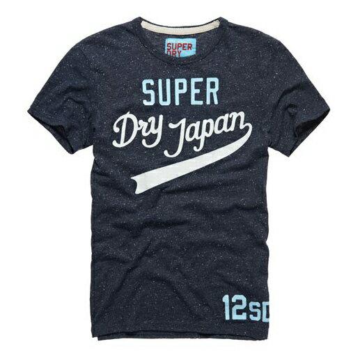 美國百分百【Superdry】極度乾燥 T恤 上衣 T-shirt 短袖 圓領 短T 雪花 藏藍 L XL號 E693