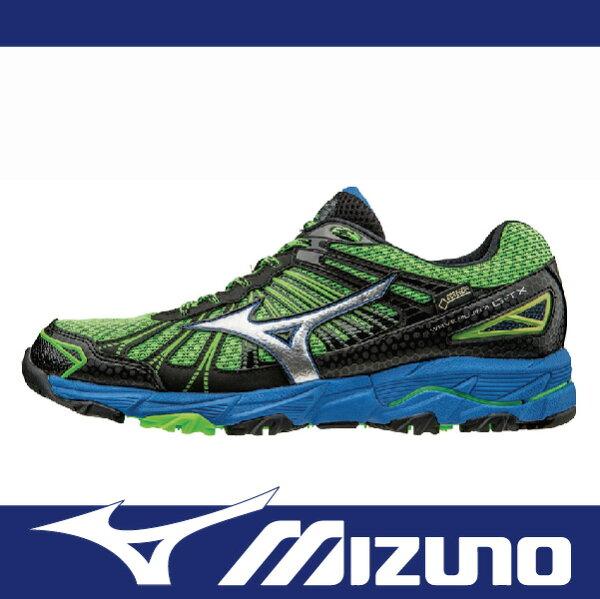 萬特戶外運動 MIZUNO J1GF165703 男慢跑鞋 WAVE MUJIN 3 GORE-TEX 防水 米其林輪胎大底 越野跑鞋 黑綠色
