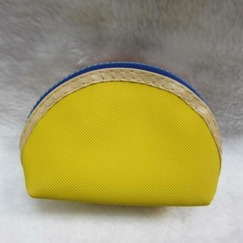 ~雪黛屋~ sandia-polo 零錢包一組三個大中小多功能使用防水尼龍布材質+進口皮革70-SA556-01 黃