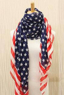 *GouQu*美國國旗絨雪紡絲巾 歐美蓬松感時尚氣質百搭圍巾披肩